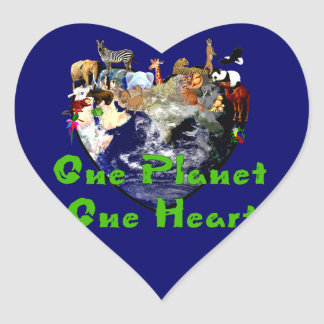 One Planet One Heart Heart Sticker