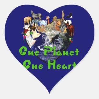 One Planet One Heart Heart Sticker