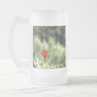 One Poppy Frosted Glass Beer Mug
