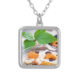 One portion of oatmeal with fruit and berries silver plated necklace