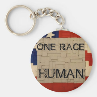 One Race Human Basic Round Button Key Ring
