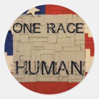 One Race Human Round Sticker