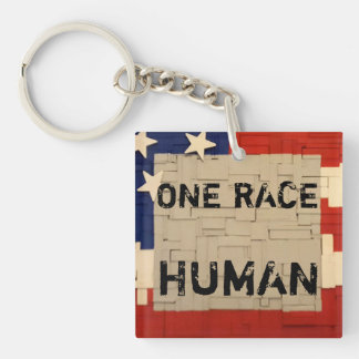 One RACE HUMAN Single-Sided Square Acrylic Key Ring