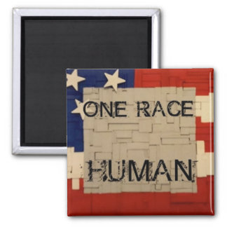 One Race HUMAN Square Magnet