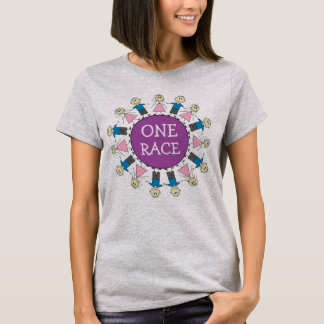 ONE RACE HUMANS Cute Stick Figures Design T-Shirt