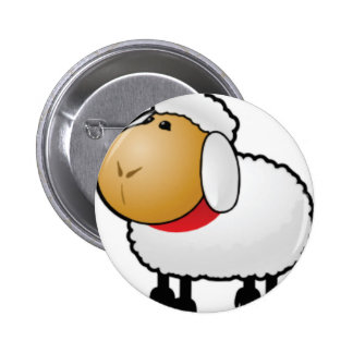 one ram sheep 6 cm round badge
