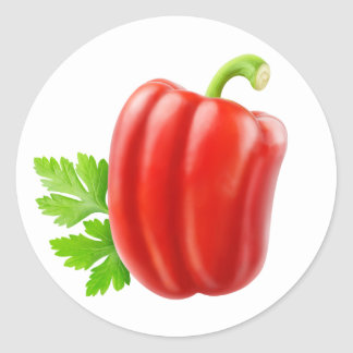 One red bell pepper round sticker