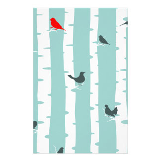 One Red Bird and Five Blue Birds Stationery