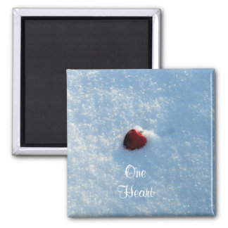 One Red Heart in Snow Square Magnet