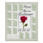 One Red Rose Wedding Guest Seating Chart Print