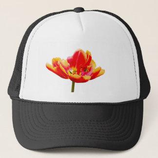 One red tulip flower on white background trucker hat