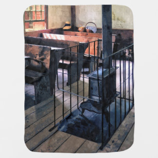 One Room Schoolhouse With Stove Baby Blanket