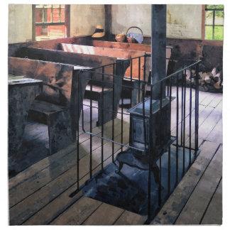 One Room Schoolhouse With Stove Napkin