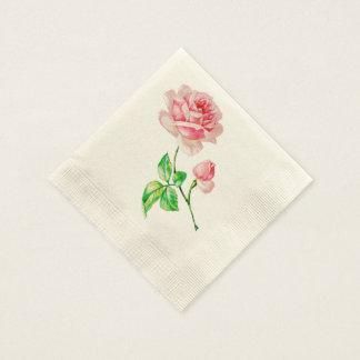 One single Vintage Pink Rose Disposable Napkin