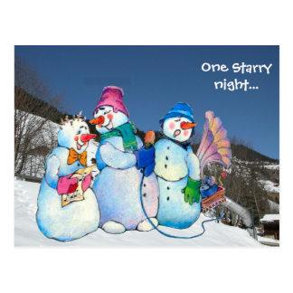 One starry night ... Snowmen on the mountain Postcard