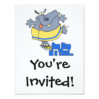 one step at a time funny dieting hippo 11 cm x 14 cm invitation card