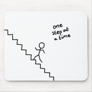 """""""one step at a time"""" stick man on stairs mousepad"""