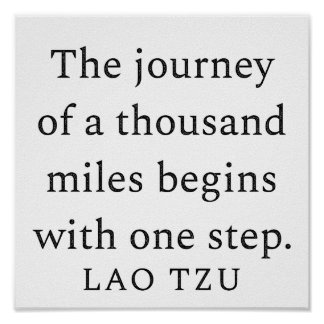 One Step Lao Tzu Motivational/Inspirational Quote Poster