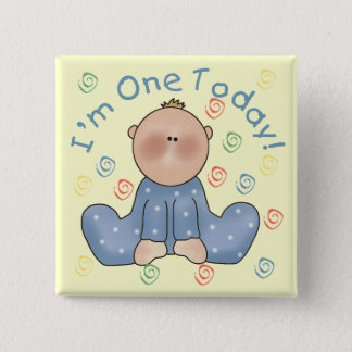 One Today Boy Birthday Tshirts and Gifts 15 Cm Square Badge