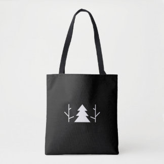 One Two Three Tree Black Minimalist Tote Bag