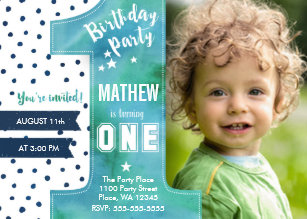Boy birthday invitations zazzle one watercolor birthday party invitation stopboris Image collections