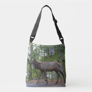 One Way Subordinate Rut Weary Young Bull Elk Crossbody Bag