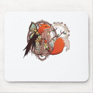 One with Nature - Fox Girl Mouse Pad