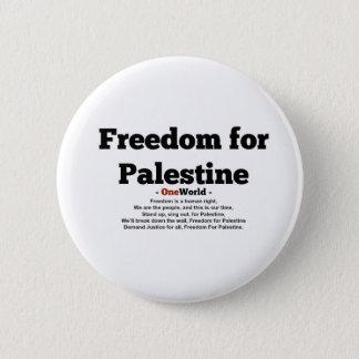 One World Freedom For Palestine 6 Cm Round Badge