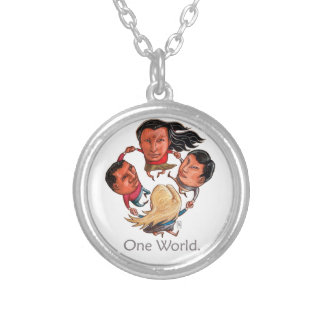 One World Global Community Silver Necklace