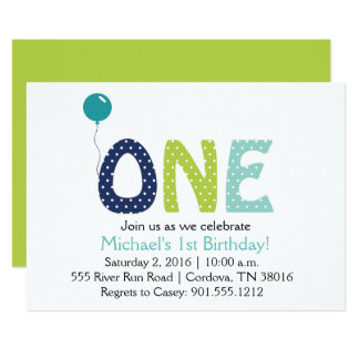 One Year Boy Birthday Invitation