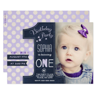 One Year Chalkboard | Photo Invitations