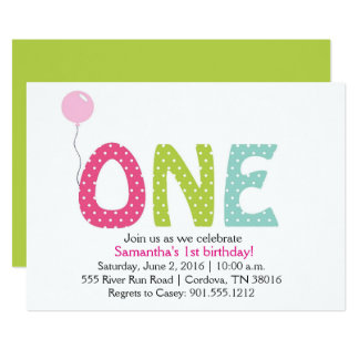 One Year Girl Birthday Invitation