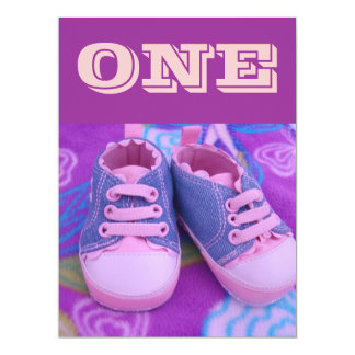 ONE year old Baby Birthday Party Invitations