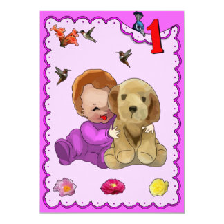 One Year Old Birthday 13 Cm X 18 Cm Invitation Card
