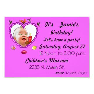 One Year Old Birthday. 13 Cm X 18 Cm Invitation Card