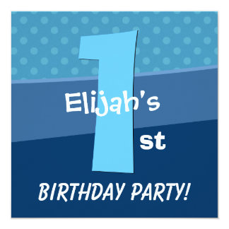 One Year Old Birthday Blue Pattern For Boy V06A1 Personalized Invites