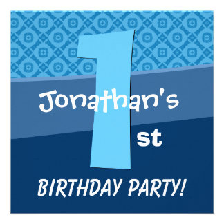 One Year Old Birthday Blue Pattern For Boy V06A Invitation
