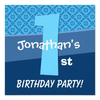 One Year Old Birthday Blue Pattern For Boy V06A Invitation