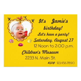 One Year Old Birthday Custom Announcements