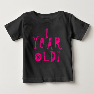 One year old birthday  cute baby skull rock pink baby T-Shirt