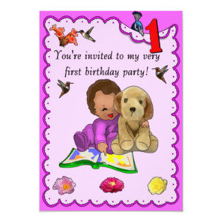 One Year Old Birthday 5x7 Paper Invitation Card