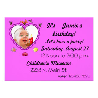One Year Old Birthday Invite