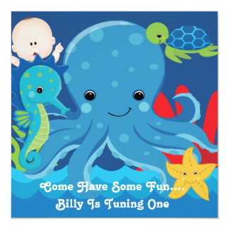 One Year Old Birthday Octopus Party 13 Cm X 13 Cm Square Invitation Card