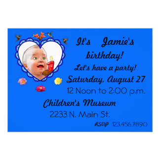 One Year Old Birthday Personalized Invitations