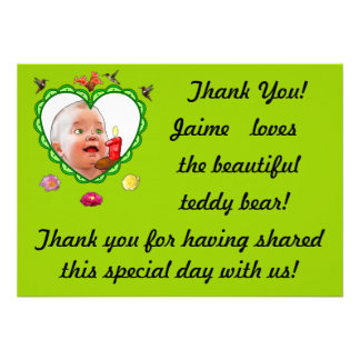One-Year-Old s Thank You Custom Announcement