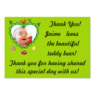 One-Year-Old's Thank You 13 Cm X 18 Cm Invitation Card