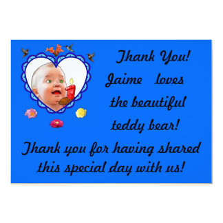 One-Year-Old's Thank You 5x7 Paper Invitation Card