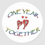 ONE YEAR TOGETHER CLASSIC ROUND STICKER