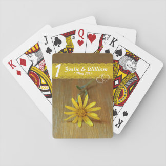 One yellow wild daisy playing cards