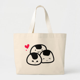onigiri friends large tote bag